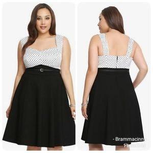 Torrid Black Belted Polka Dot Swing Dress 14 NWOT